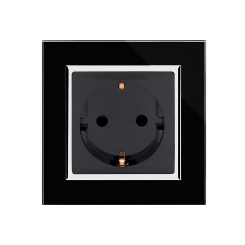 RetroTouch SCHUKO 16A European Single Plug Socket Black Glass CT 00181